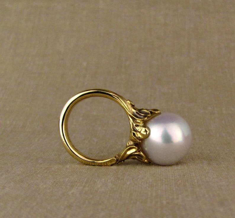 Giant Rococo Pearl Solitaire 14K gold  diamonds Made to image 0