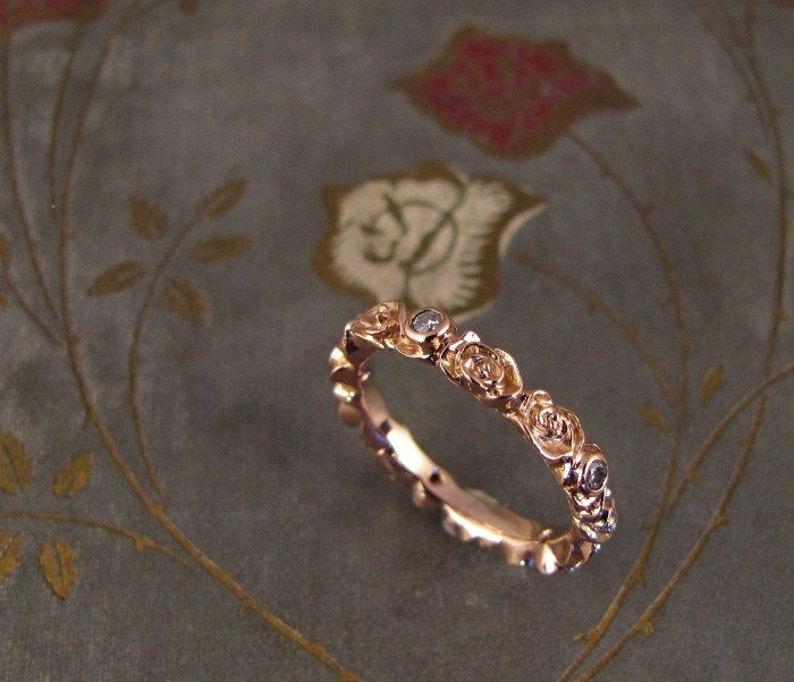 Rosy Diamond Eternity Ring 14K gold  Made to Order image 0