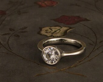 1ct Forever One Moissanite 14K Low-Profile Solitaire - Made to Order
