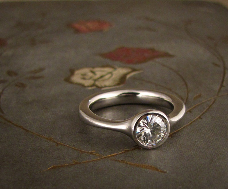 Low-Profile Solitaire Engagement Ring  Made to Order image 0
