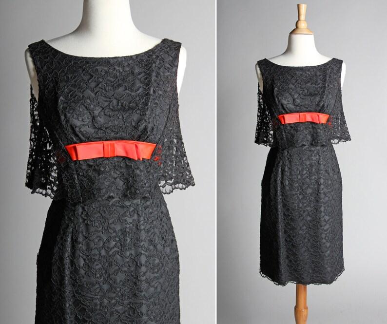 953f02f3d11 Vintage 1950 s Lace Cape Party Dress 50s Black Cocktail