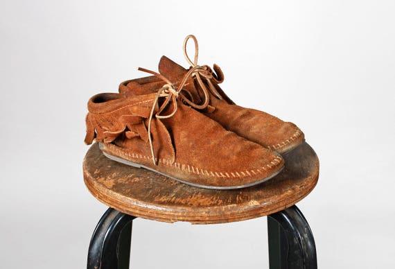 Vintage bruin lederen Minnetonka laarsjes enkellaars boot Tan tie up veters Bow Suede schoen Moccasin platte flats Fringe maat 5 12