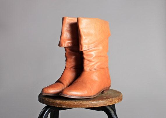 Ferse 7 Flache Braun Stiefel Spitzen Hoch Leder Stiefeln 1980er Jahre Orange Gefesselt Tan Vintage Größe XZiPkOu