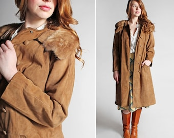 SALE Vintage Leather and Fur Swing Coat - Brown Suede Leather 1960's 60's Retro A-line Jacket Button Up Fall Winter Formal - Size Large
