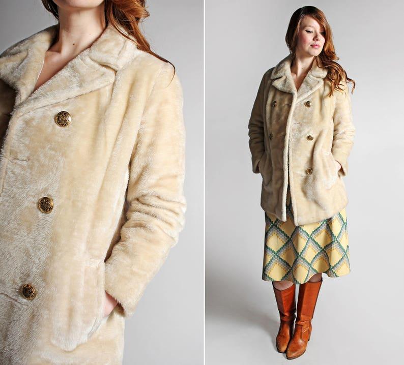 e946acc7d6a1 SALE Vintage Faux Fur Pea coat Off White Tan Winter Jacket | Etsy