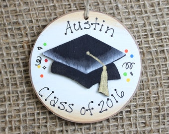 Graduate Graduation Cap Handpainted Wooden Ornament Personalized