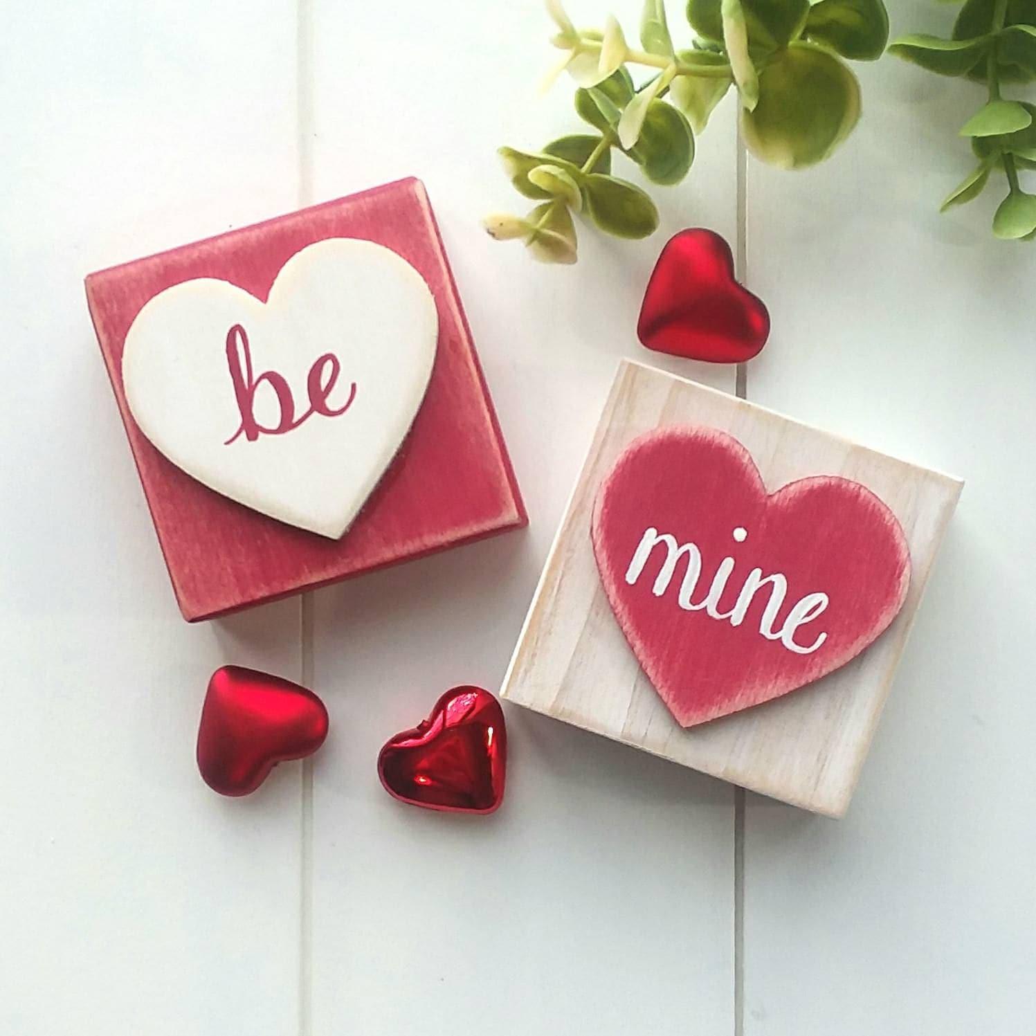 Valentines Blocks Heart Blocks Be Mine Blocks Valentines | Etsy