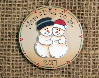 Pregnancy Ornament~ Expecting Parents~ Pregnant Snowman Couple~ Maternity Gift~ Mom and Dad to Be~ Baby Bump~ First Christmas Pregnant