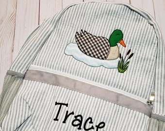 Navy Mallard Duck applique School Backpack Personalized Bookbag personalized diaper bag perfect for school