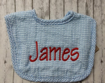 Personalized baby bib / personalized blue seersucker Boy baby bib with name / personalized baby shower gift