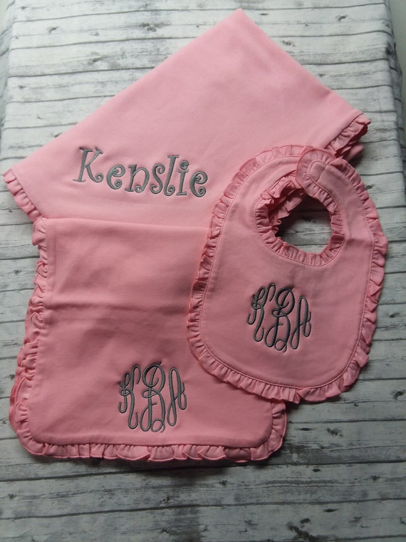 Boy or Girl Personalized Monogrammed Baby Burp Cloth and Bib