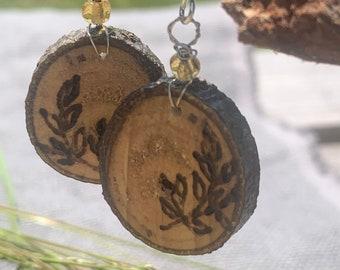 Labradorite wood pendant  conversation piece  electroformed  rustic and organic