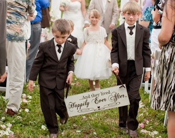 Here Comes the Bride with And they lived Happily Ever After Wedding Signs. 8 X 24 in. Crisp Paint, 2-sided. Ring Bearer, Flower Girl.