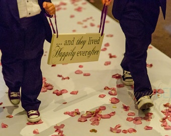 Here Comes the Bride Sign and/or And they lived Happily ever after. 8 X 16 inches, Bridal Sign, Flower Girl, Sign Bearer, Ring Bearer.