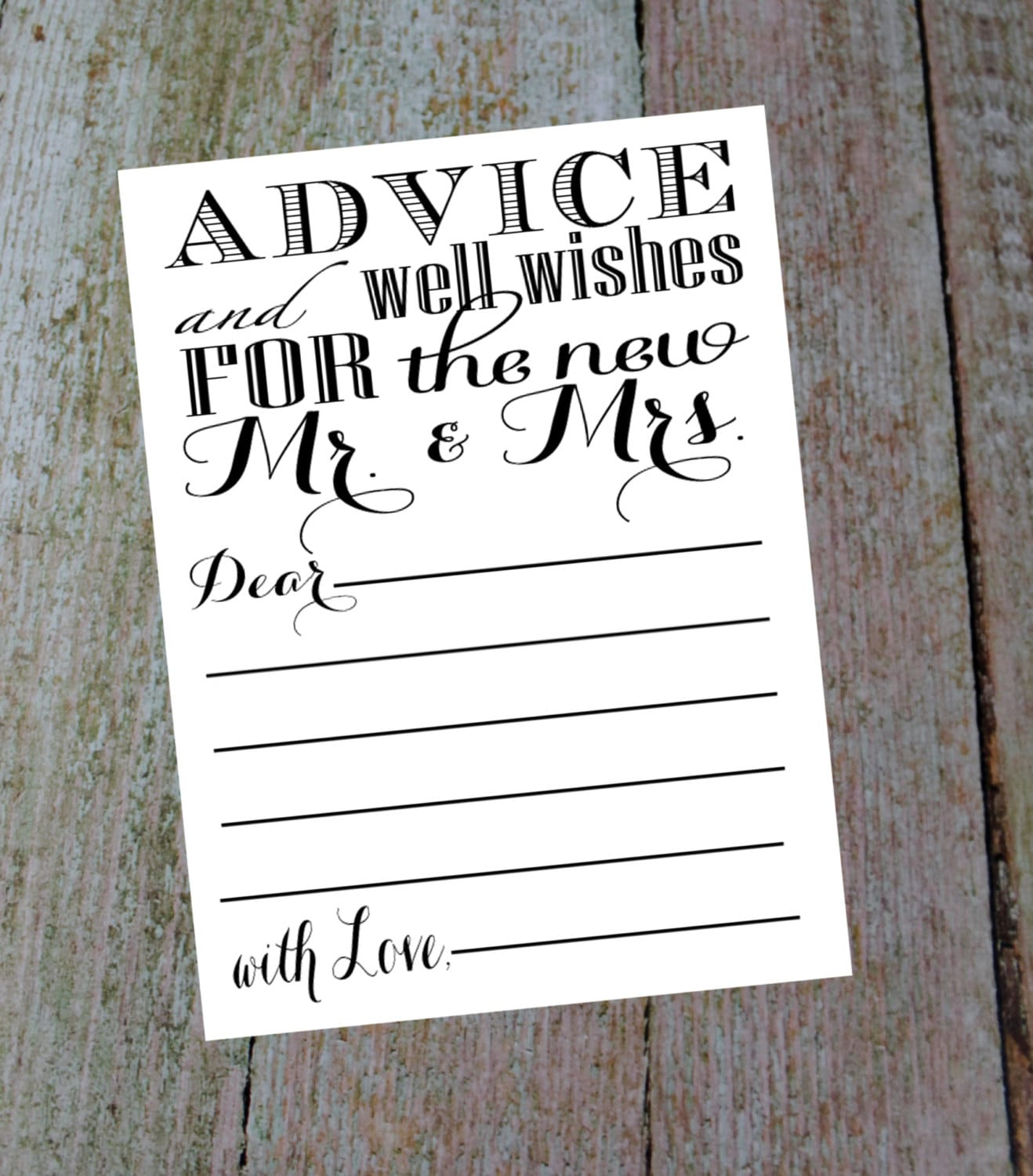 Advice And Well Wishes For The New Mr Mrs Comes With A 4 Etsy