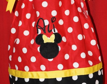 Polka Dot Minnie Mouse pillowcase dress - personalized with Minnie Mouse applique - Red, Yellow and Black