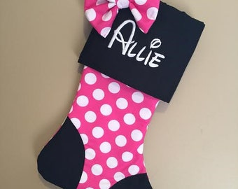 Minnie Mouse inspired Christmas stocking - Plush Personalized Family Holiday Tradition
