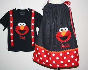 Personalized Embroidered Elmo Brother/Sister pillowcase dress/shirt set - black/red/orange