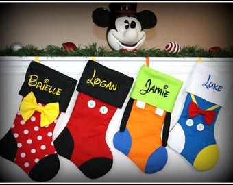 CHRISTMAS STOCKINGS!! Disney Character Inspired Personalized Embroidered Mickey Minnie Goofy Donald Daisy Tinkerbell Pluto