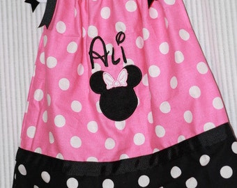 Personalized embroidered Minnie Mouse Polka Dot pillowcase dress