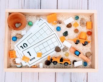 Construction Sensory Bin Kit / Building Pretend Play Toy / Montessori Small Parts