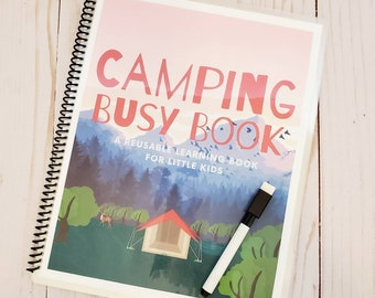 LAMINATED Spiral Bound Camping Busy Book/Little Kids Quiet Activity Book/Dry Erase Education Book /ABCs, Shapes, Directions, Picture Search