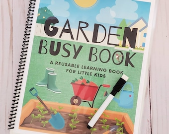 READY TO SHIP Laminated Spiral Bound Dry-Erase Garden Busy Book for Little Kids / Quiet Activity Book / Tracing, ABCs