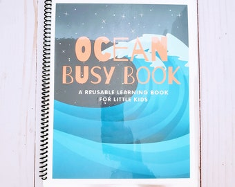 READY TO SHIP Ocean Busy Book for Kids  w/ Dry-Erase / Pre-K & Kinder Activity Book / Educational / Count, Match, Mazes, Shapes, ABCs