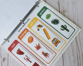 Fully Assembled Busy Binder for Preschool, Kindergarten, First Grade, Special Needs, Homeschool / Laminated Velcro Educational Book