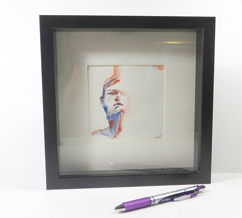 6bdd9efafb Face Watercolor Painting Shadow Box Frame Fashion Illustration Gift Home  Office Decor Gifts Her Power Woman Career Girl Friends Prada Coffee