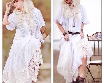 c24319d0ecca4 M L White boho Maxi Skirt