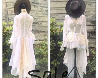 1c3951eaa959f Boho wedding dress OS White lace kimono, upcycled anthropologie duster,  Romantic Shabby lace jacket, Country clothing, True Rebel Clothing