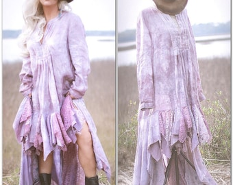 690678cca489 Plus OS flax linen, Gypsy tunic dress gypsy spell bohemian hi low, easter  plum purple spring linen, shabby chic lace, True Rebel Clothing