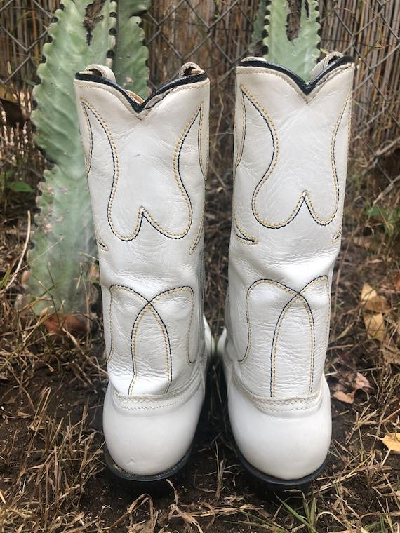 Vintage Acme White Thunderbird Cutout Cowboy Boots - image 3