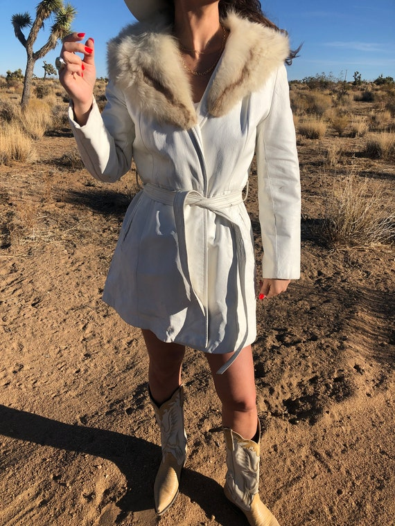 Vintage White Leather Fox Fur Jacket