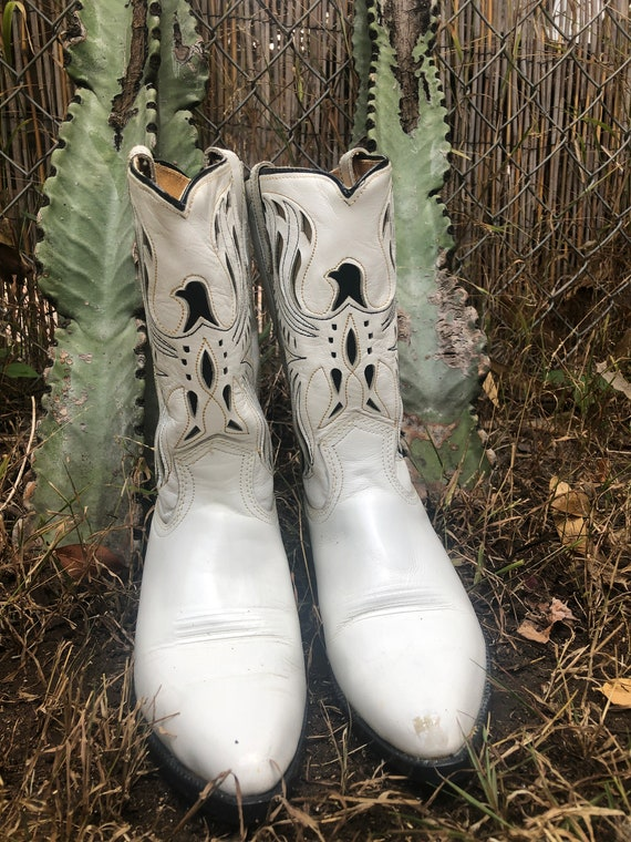 Vintage Acme White Thunderbird Cutout Cowboy Boots - image 1
