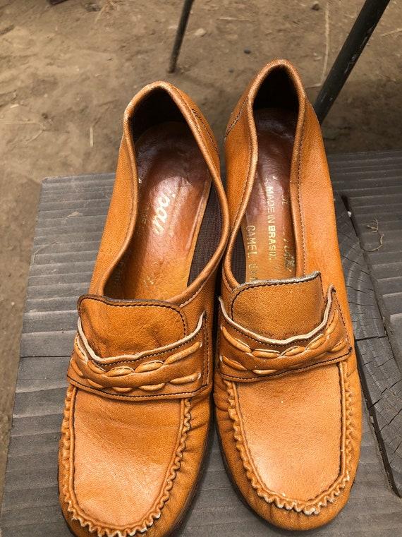 Vintage 1970s Loafer Leather Platform Shoes