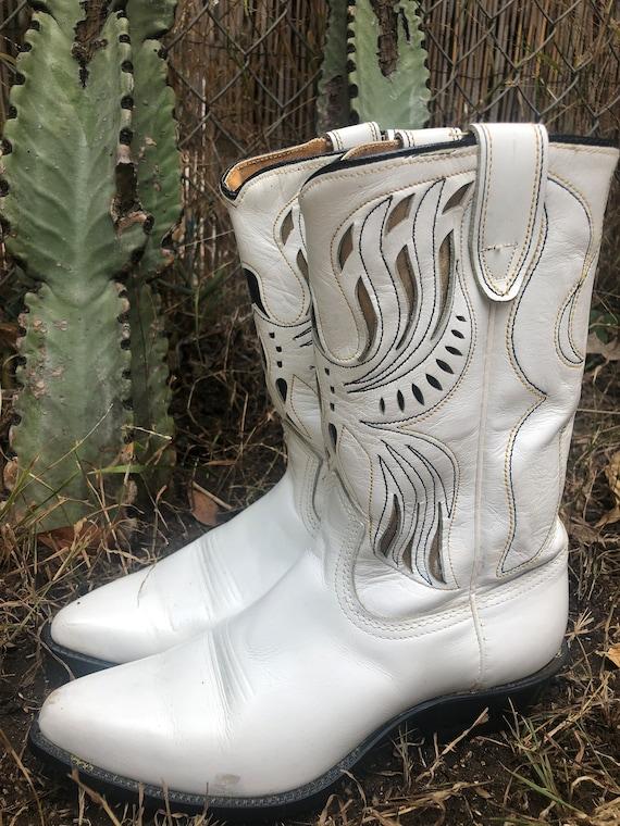 Vintage Acme White Thunderbird Cutout Cowboy Boots - image 4