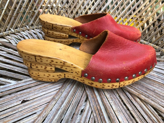 Vintage 1970s Red Leather Clogs Mule Shoes