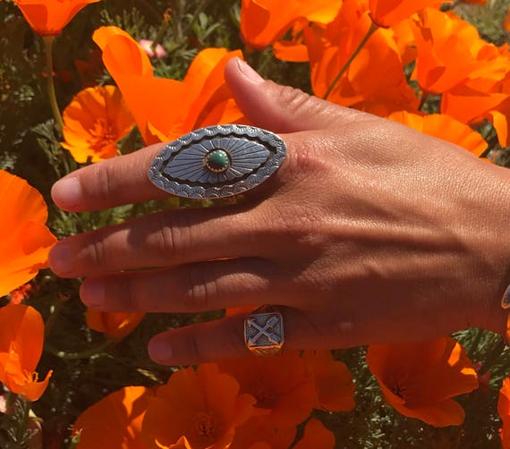 Vintage Pawn Sterling Silver Concho Turquoise Ring