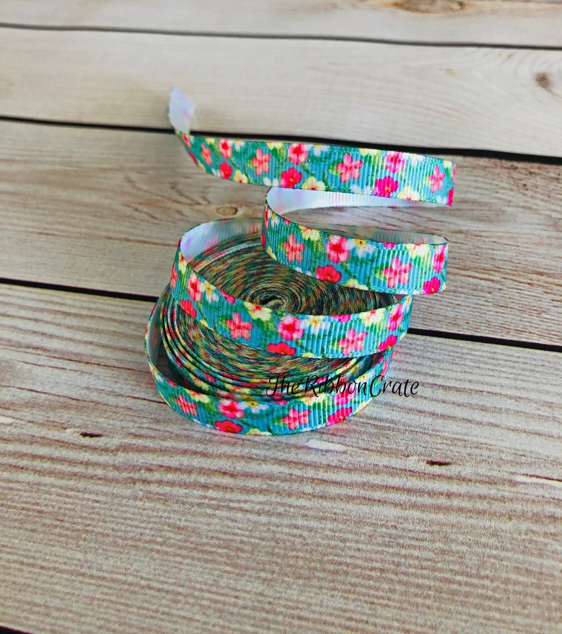 5 Yards 38 Inch Bright Pink and Yellow Flowers Grosgrain Ribbon Hair Bow Korker Headband