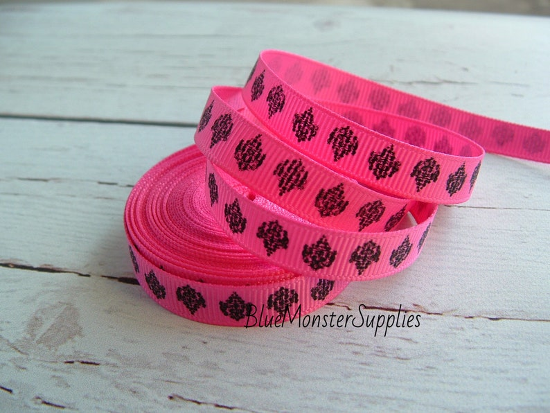 5 Yards 38 Inch Hot Pink Fleur De Lis Grosgrain Ribbon CLEARANCE
