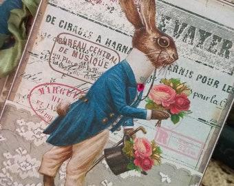 TWELVE petite Vintage Easter Spring Hang tags  Vintage Inspired Gift Tags