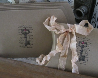 NEW french market french script skeleton key pillow boxes