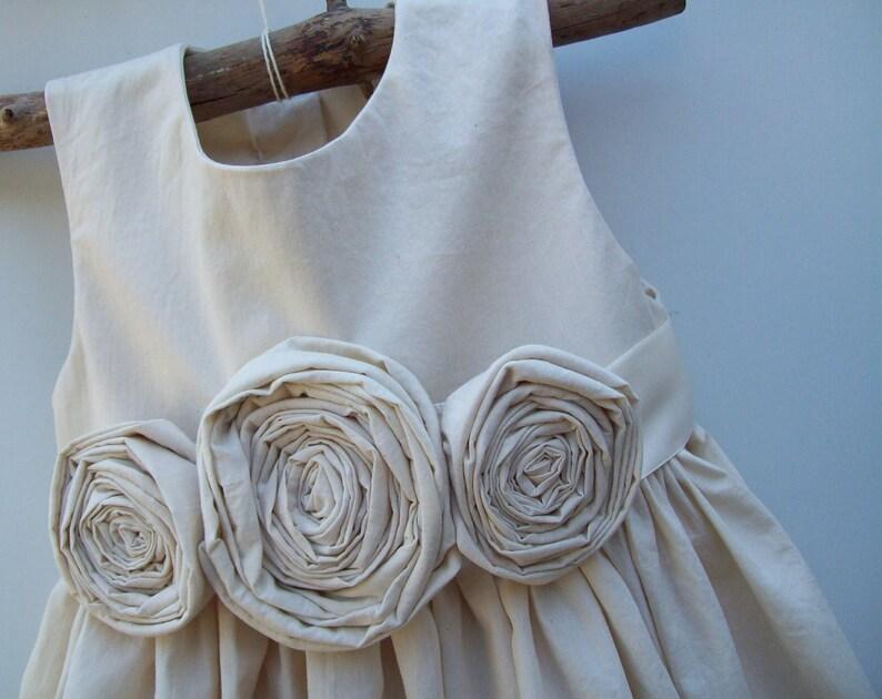 Natural Cotton Flower Girl Dress rustic flower girl dress Flower girl dress farm chic flower girl dress outdoor wedding flowergirl dress