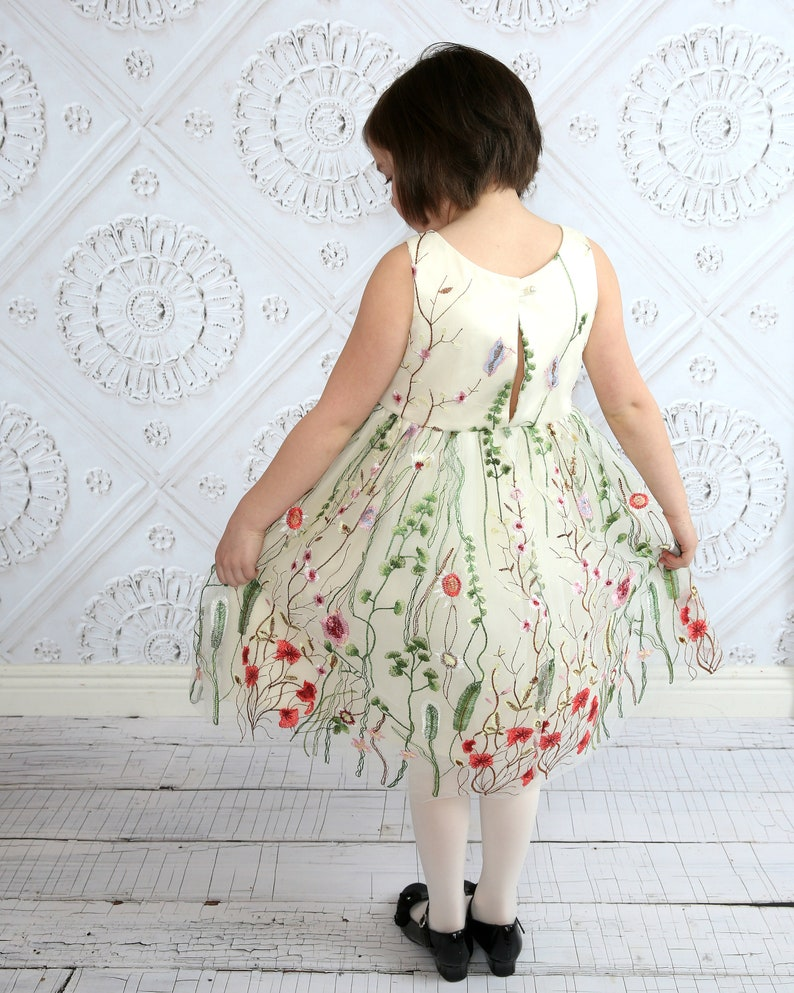 4cfb40126a Flower girl dress Embroidered flowers dress tulle flower