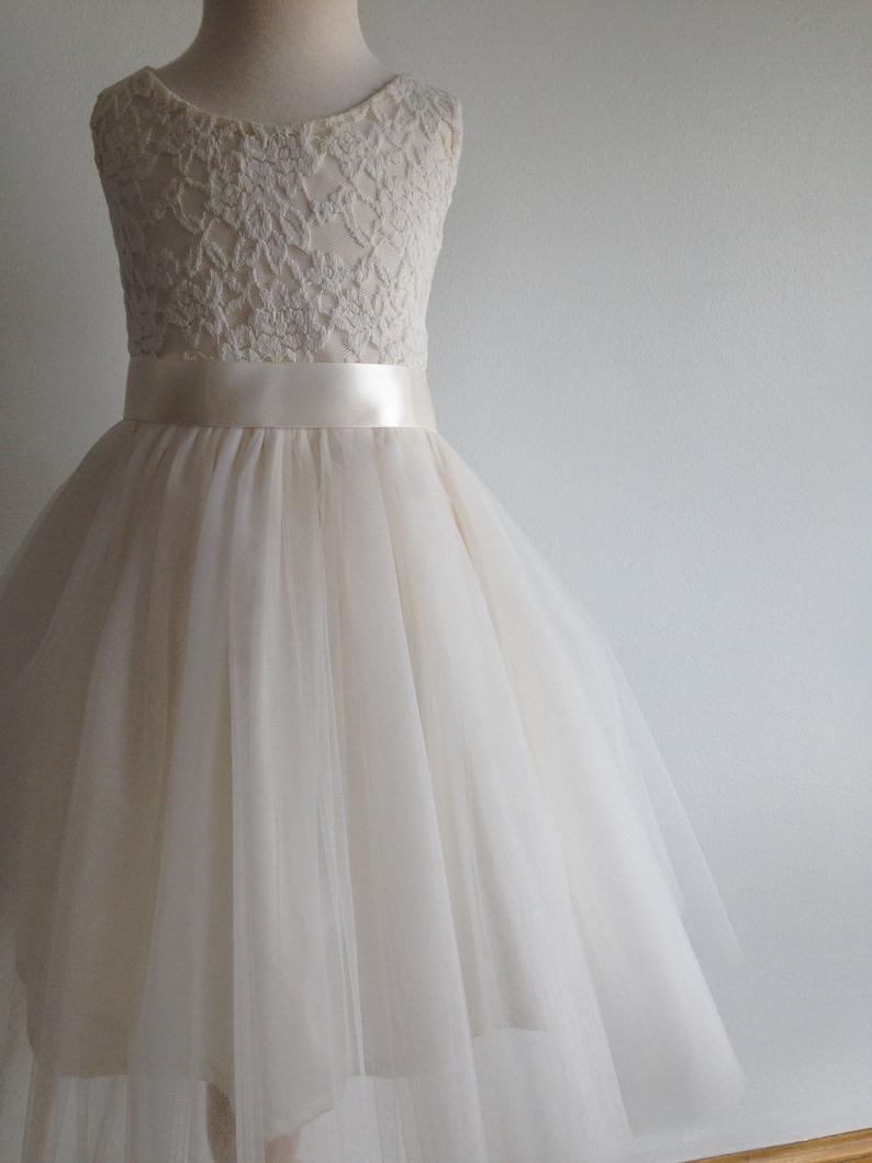 05a1c5593ed Flower girl dress ivory flower girl dress tulle flower girl