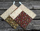 Quilted Potholder Set - Fall, Autumn, Harvest Theme, Thanksgiving