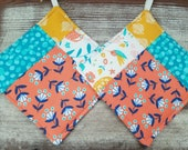 Modern Quilted Potholder Set - Small Floral - Wild Nectar