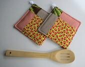 Modern Quilted Potholder Set - Ladybugs - Picnic Theme